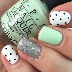 Sparkly, Mint & Polka Dot Nail Design