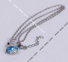 40cm Blue Rabbit Crystal Necklace Sweater Chains Jewelry Vintage Charms