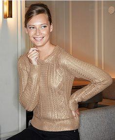 MICHAEL Michael Kors Sweater, Long-Sleeve Metallic Cable-Knit