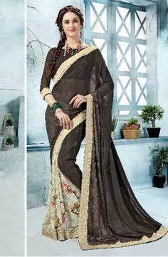 37491d96db Georgette Printed Daily Wear Sarees Wholesale Collection Black Saree, White  Saree, Designer Sarees Online