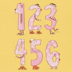 Numbers A3 Poster in Pink Printable DIY INSTANT by MookooDesign