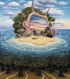Desert Island - (Jacek Yerka) #surrealism #art #painting #sea #island #symbolism #forest #beach #yerka