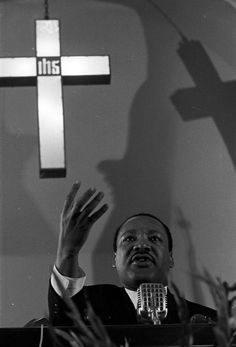 Martin Luther King, Jr., speaking to a crowd at Dexter Avenue Baptist Church in Montgomery, Alabama. A Ku Klux Klan rally was held in the city the same day. This image was taken for (but not used in) an article and photo spread that appeared in the issue of The Southern Courier for December 16-17, 1967.  Date 1967 December