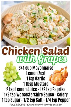 Cooking Chicken To Shred, How To Cook Chicken, Chicken Flavors, Chicken Salad Recipes, New Recipes, Healthy Recipes, Favorite Recipes, Deli Food, Food Food