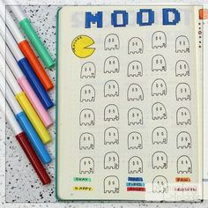 May's retro themed Pac-Man #moodtracker in my #bulletjournal and also April's completed #steampunk mood tracker . #bujo…