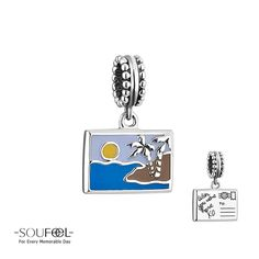 Soufeel Postage Stamp Dangle Charm 925 Sterling Silver Compatible All Brands Basic Bracelet. For Every Memorable Day