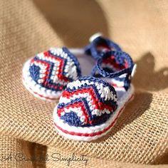 "Crochet Pattern: ""Chasing Chevrons"" Baby Sandals by A Crocheted Simplicity  #crochet #crochetpattern #crochetbaby #handmade #babysandals"