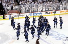 Despite being swept, Winnipeg fans give team standing ovation through the handshake line. 4-22-2015