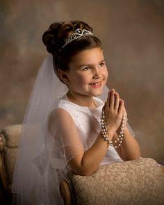 First Holy Communion Girls First Communion Dresses, First Communion Party, First Holy Communion, Communion Prayer, Braided Hairstyles, Wedding Hairstyles, First Communion Decorations, Communion Hairstyles, Girls Updo