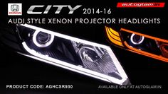 Autoglam Honda City Evoque Style HID Projector Headlight is amongst the hottest selling car in India adding projector headlamps to it makes it unique and impressive. Projector Headlights, Car Headlights, Honda 2014, Hidden Projector, Honda City, City Car, Car Lights, Car Accessories, Coding