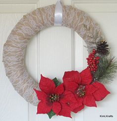 Burlap Wreath Christmas Wreath Winter Wreath Lace by KimLKrafts