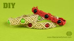 How to Make Roses with beads pattern - Macramé Bracelet Tutorial (DIY). Please watch more beaded macrame bracelet tutorials in playlist: http://goo.gl/b4iPao...