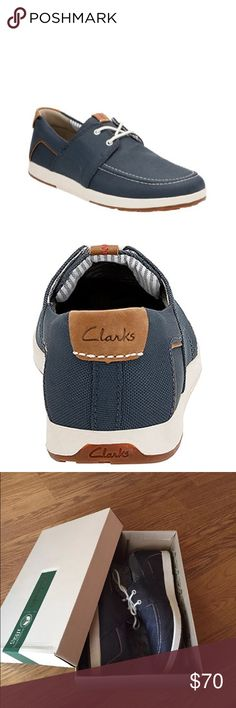 New Display Men Clarks Boat Shoes Navy Blue Slip These are display shoes, (were tried on, worn in store etc.) Therefore the soles show mild marks. Comfortable navy boat shoes by Clarks. U.S. Size 9, EU 42. Perfect for fall! Clarks Shoes
