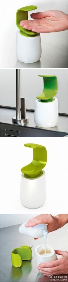 This soap dispenser keeps all your grody finger germs off the pump. | 33 Ingeniously Designed Products You Need In Your Life