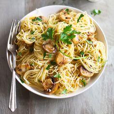Spaghettini with Mushrooms, #Garlic, and Oil