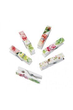 Lot de 12 pinces à linges Fleuries Shabby Chic pour Décoration de table ambiance Romantique - Mariage Cérémonie