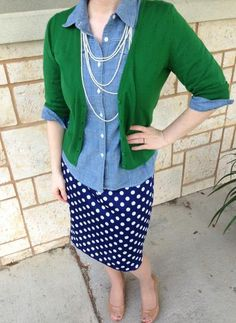 green cardigan, chambray shirt, navy blue skirt with white polka dots + nude heels and layered necklaces