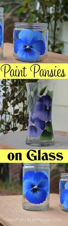 Learn how to paint pansies on glass.  A video tutorial is included so you watch me paint a pansy step by step on glass jars.  Come paint with me! FlowerPatchFarmhouse.com