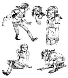"Sketches da Ellie em ""The Last of Us: American Dreams"" (por Faith Erin Hicks)"
