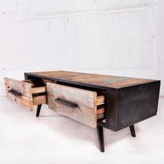 meuble tv de type loft industriel en bois recyclé et métal. très ... - Meuble Metal Design