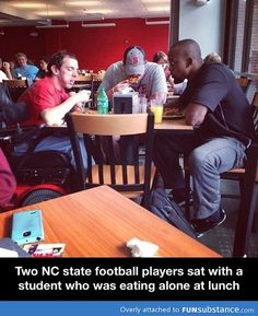 """Actually they are (all) real life friends. That caption is BS. Why is it that a guy in a wheelchair sitting with other """"popular"""" guys is considered something special?  Why can't he be considered the same way any other guy is?"""