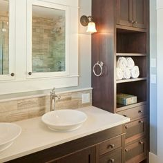 Top 35 Amazing Bathroom Storage Design Ideas Tile mirror Built
