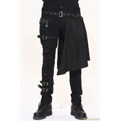Black Gothic Punk Removable Skirts Trousers For Men Pt032