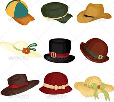 Realistic Graphic DOWNLOAD (.ai, .psd) :: http://jquery.re/pinterest-itmid-1005989998i.html ... Hats ...  accessory, baseball cap, cap, clothes, clothing, cowboy hat, design elements, drawing, fashion, fedora, hats, icons, illustration, isolated, objects, stylish, vector, wear, white background  ... Realistic Photo Graphic Print Obejct Business Web Elements Illustration Design Templates ... DOWNLOAD :: http://jquery.re/pinterest-itmid-1005989998i.html