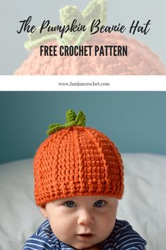 Crochet Baby Hats Pumpkin beanie hat free crochet pattern by HanJan Crochet - easy halloween crochet pattern - Who doesn't need a pumpkin beanie hat complete with stalk and leaf? It's an absolute must have whatever age you are. Halloween Crochet Patterns, Crochet Baby Hat Patterns, Crochet Beanie Pattern, Crochet Motifs, Crochet Baby Booties, Free Crochet, Crochet Baby Halloween, Crochet Ideas, Baby Knitting Patterns Free Newborn
