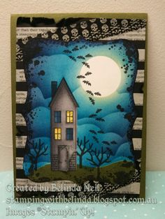 Halloween haunted house with opening door - Stampin' Up! Halloween Paper Crafts, Manualidades Halloween, Fete Halloween, Halloween Cards, Halloween Themes, Halloween House, Fall Cards, Holiday Cards, Thanksgiving Cards