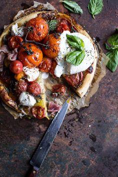 Quick Balsamic Fig Roasted Tomato and Burrata Cheese Tarts   halfbakedharvest.com @hbharvest