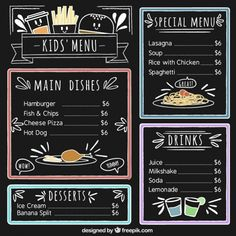 Kids Chalkboard, Chalkboard Lettering, Chalkboard Designs, Cafe Menu Design, Food Menu Design, Chalk Menu, Chalk Art, Crea Design, Design Design