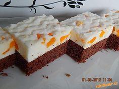 Mandarinkové řezy s kefírem Kefir, Good Mood, Cheesecake, Yummy Food, Sweet, Pies, Recipes, Candy, Delicious Food