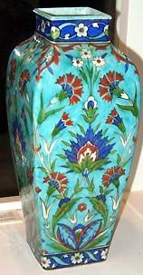 """Théodore Deck (1823-91) Discovered the brilliant color in Islamic ceramics was due to a base coating of white alkaline slip containing tin oxide. Then the enamel colors were coated w/a transparent glaze, producing a glowing, translucent effect. After trial & error, Deck rivaled the vivid palette of Islamic ceramics. He created """"bleu Deck,"""" his famous """"Persian blue"""" or deep-turquoise glaze, using potash, carbonate of soda & chalk. #Theodore_Deck #Deck #pottery #glaze #bleu_Deck #turquoise…"""