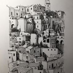 #matera - it keeps on giving. #basilicata #italy . #architecture #drawing #cityscape #dailydrawing #sketch_daily #greenwoodclassic #sketchbook #pensketch #archisketcher #arquitectura #sassi #medieval #ancient #architectureinpenandink #italyarchitecture