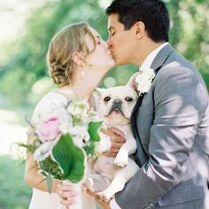The French bulldog walked the groom down the aisle. // photo by: Jen Huang Photography // Location: The Inn at Fernbrook Farms