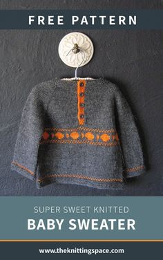 Make this adorable everyday knitted baby sweater ideal as a thoughtful handmade baby shower present. This easy knitting project is ideal for confident. Kids Knitting Patterns, Easy Knitting Projects, Knitting For Kids, Baby Patterns, Free Knitting, Baby Sweater Patterns, Knit Baby Sweaters, Knitted Baby, Crochet Baby