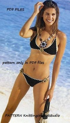 Woman Crochet Bikini set with handbag Pattern only with written instruction and diagrams in Pdf files.. $4,99, via Etsy.