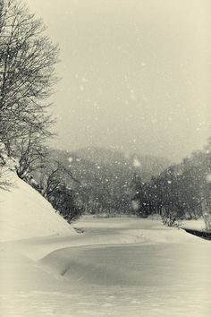 "Japanese poem Haiku by Issa KOBAYASHI (1763~1828) ""Looking delicious / the snow falling softly / softly"""