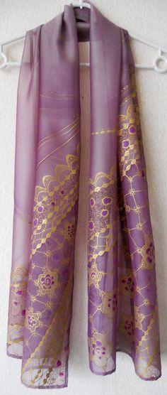 Handpainted silk scarf Midnight Kiss  Rose  silky feel by BGTariko