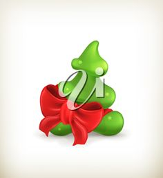 iCLIPART - Clip Art Illustration of a Christmas Tree with a Bow