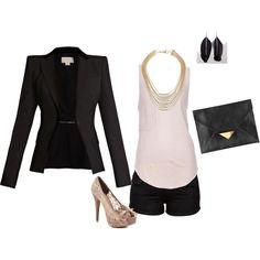 cute! I love the blazer/shorts and heels combo!