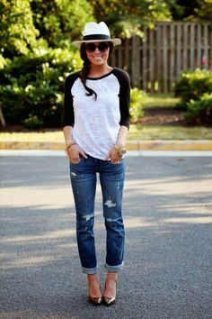 Gorgeous White And Black T-shirt With Stylish Blue Jeans And Cute Cap