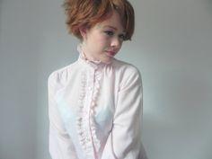 SALE Pale Pink Lace Tuxedo Blouse // Vintage by HamsterdamVintage, $20.00