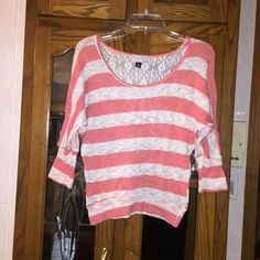 Casual striped top Super cute comfortable material. Fun colors together. Crochet detail on back  Offers are welcome!!!!  15% discounts on bundles always  I ship orders out FAST!   NO TRADES NO PAYPAY  I ONLY SELL THROUGH POSH!! Tops