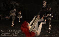 Senryu by M. Nakazato LaFreniere, haiku, senryu, zombies, Halloween, second life, secondlife, #secondlife, #senryu, #zombies, Cactus Haiku, poem, poetry, daily poem, Kayla Woodrunner, Amber Icestron, Halloween Island on Nykus, http://cactushaiku.com/halloween-senryu-zombies/