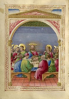 The Last Supper (Getty Museum)    Taddeo Crivelli Italian, Ferrara, about 1469 Tempera colors, gold paint, and gold leaf on parchment  4 1/4 x 3 1/8 in. MS. LUDWIG IX 13, FOL. 162V