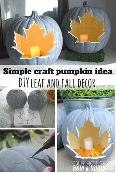 These leaf cut out pumpkins are the cutest! They give you the same fall feel to carving pumpkins without the mess. Using the craft pumpkins these can be used year after year in the fall decor! Just a few easy steps to make these fall leaf pumpkins!