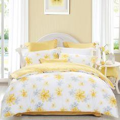 Country Bedding Sets, Best Bedding Sets, Duvet Sets, Airy Bedroom, Bedroom Decor, Bedroom Sets, Yellow Gray Bedroom, Yellow Comforter, Attic Bedroom Designs