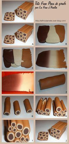 Tuto Fimo Cane peau de girafe (Girafe Skin) ~ Polymer Clay Canes